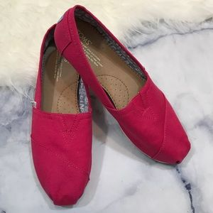 Toms Red Canvas Slip On Original Shoes